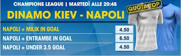 Quote top William Hill per Dinamo Kiev vs. Napoli del 13-09-2016
