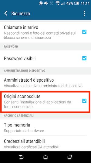 Attivare Sorgenti sconosciute su Android